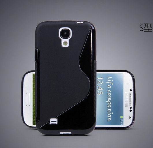 TPU Color Case for Samsung S4 I9500 Slim Protective Shell Cover + S Grain - Black