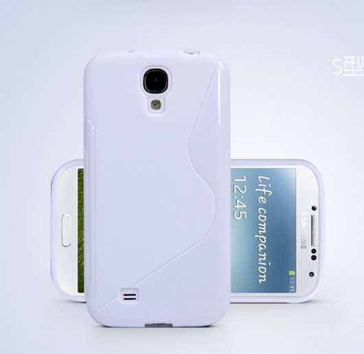 TPU Color Case for Samsung S4 I9500 Slim Protective Shell Cover + S Grain - White