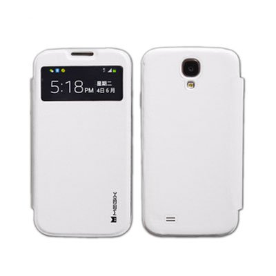 Genuine Leather Flip Case for Samsung S4 I9500 Smart Wake View Shell Cover White Color