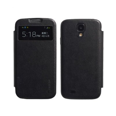 Genuine Leather Flip Case for Samsung S4 I9500 Smart Wake View Shell Cover Black Color