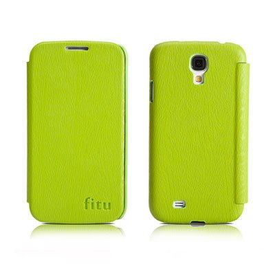 PU Leather Flip Case for Samsung S4 I9500 IV Protective Shell Cover Green Color