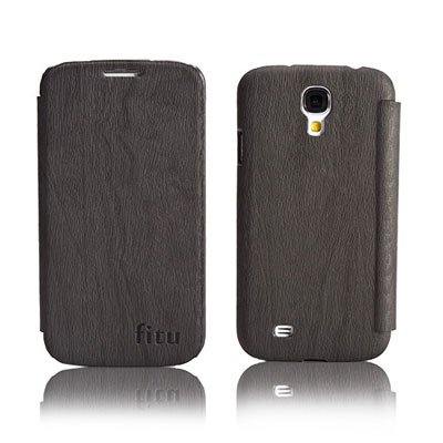 PU Leather Flip Case for Samsung S4 I9500 IV Protective Shell Cover Black Color