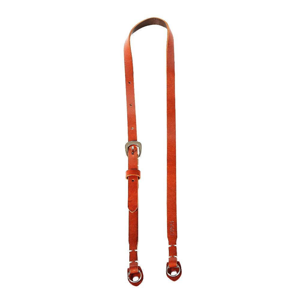 CANPIS 4 Stage Adjustable Long Genuine Leather Camera Neck Shoulder Strap for Mirrorless DSLR Brown