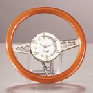 Wood Racer Steering Wheel Clock 1ct