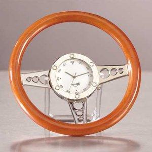 Wood Racer Steering Wheel Clock 1ct