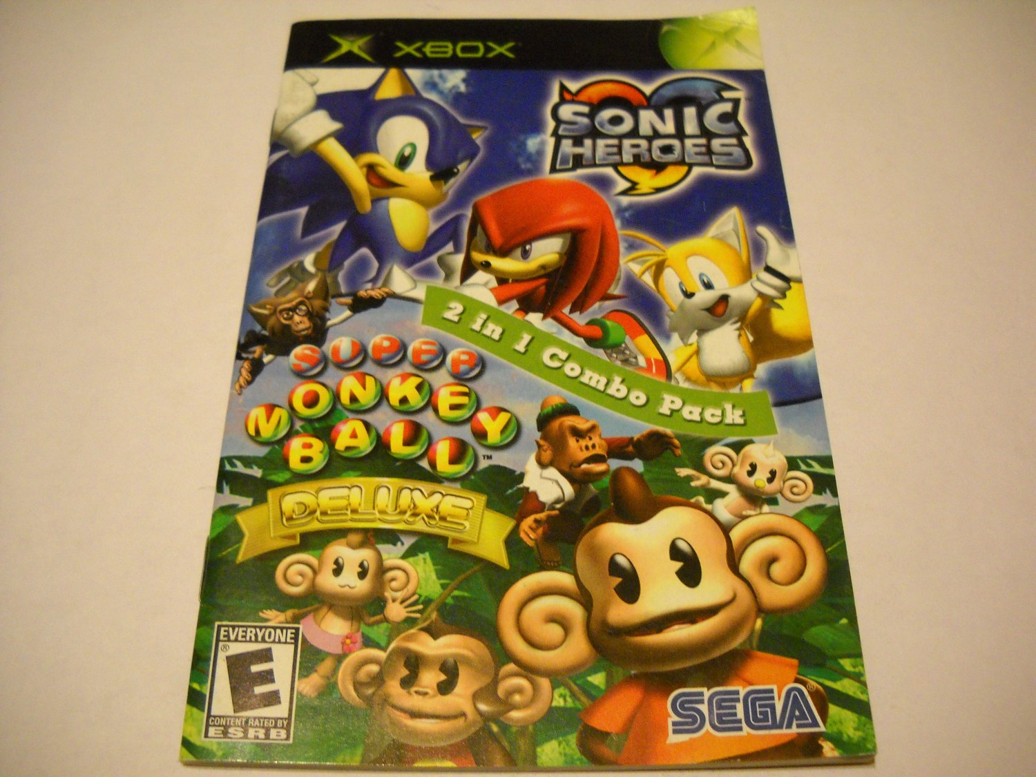 Manual ONLY ~  for Sonic Heroes / Super Monkey Ball Deluxe   Xbox