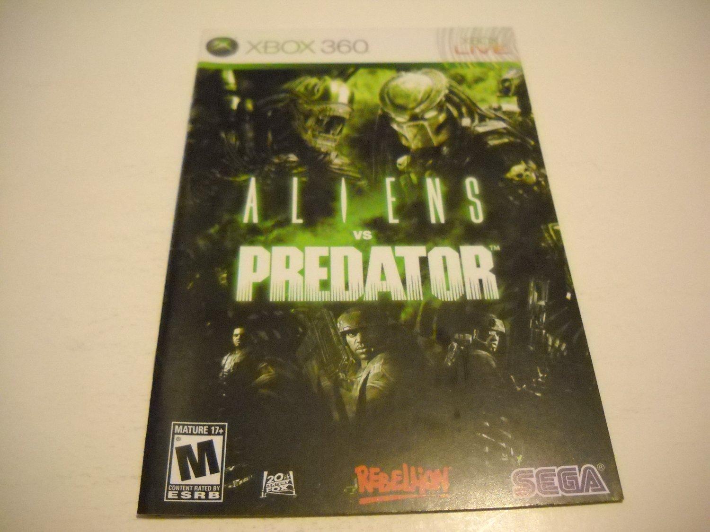 Manual ONLY ~  for Aliens vs Predator   - Xbox 360 Instruction Booklet
