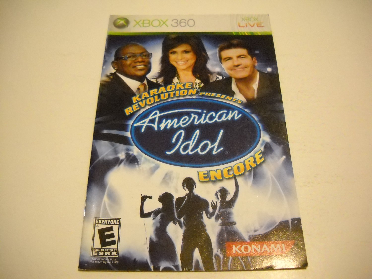 Manual ONLY ~  for Karaoke Revolution Presents  American Idol Encore - Xbox 360 Instruction Booklet