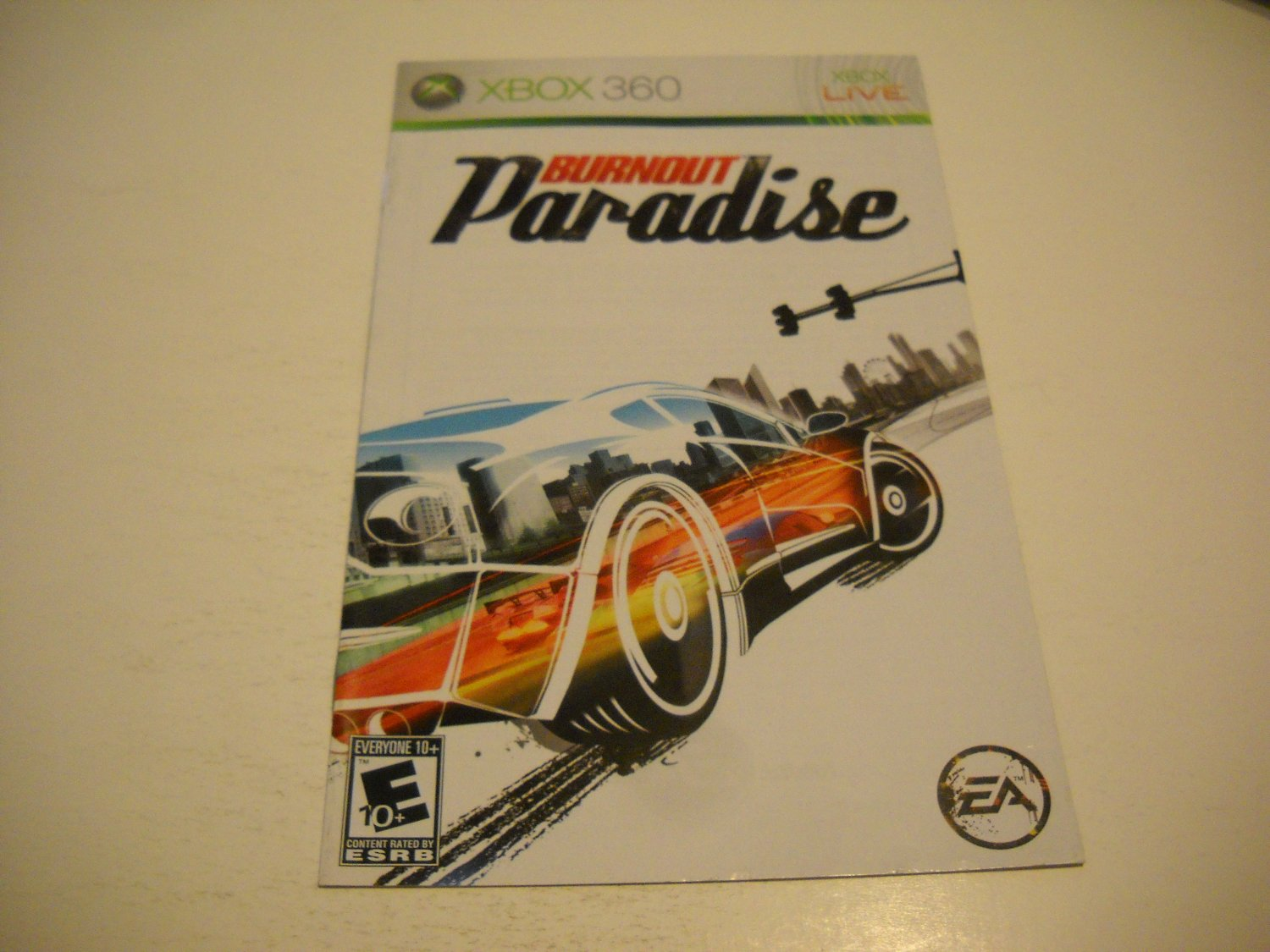 Manual ONLY ~  for Burnout Paradise   - Xbox 360 Instruction Booklet