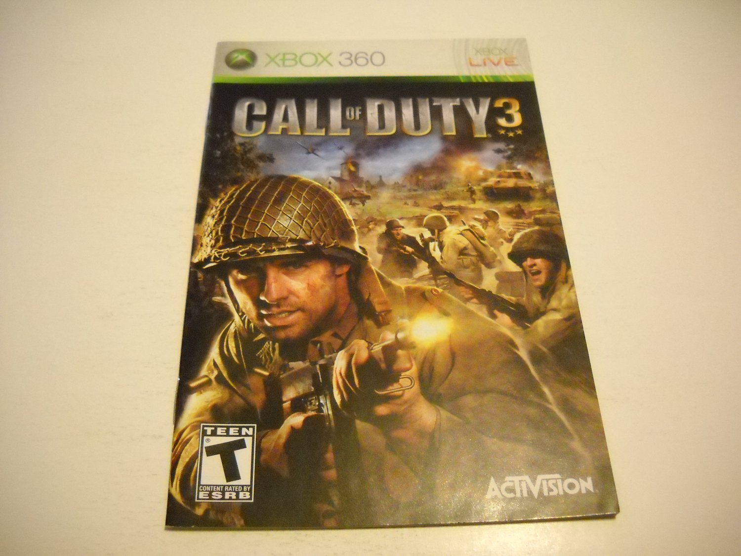 Manual ONLY ~  for Call of Duty 3   - Xbox 360 Instruction Booklet