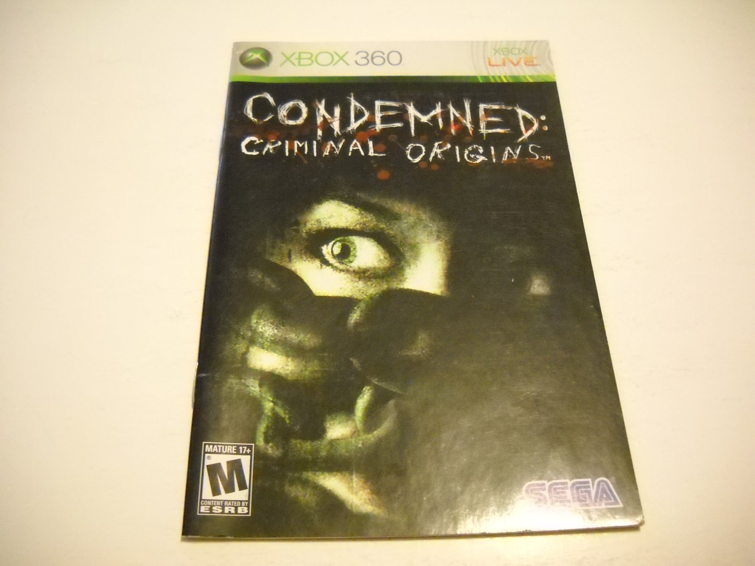 Manual ONLY ~  for Condemned Criminal Origins   - Xbox 360 Instruction Booklet