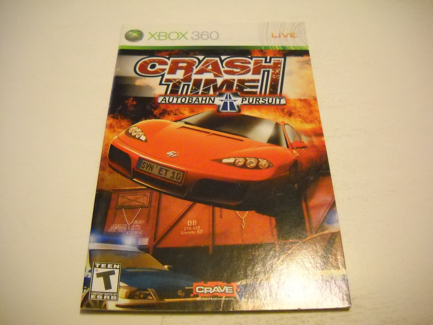 Manual ONLY ~  for Crash Time Autobahn Pursuit   - Xbox 360 Instruction Booklet