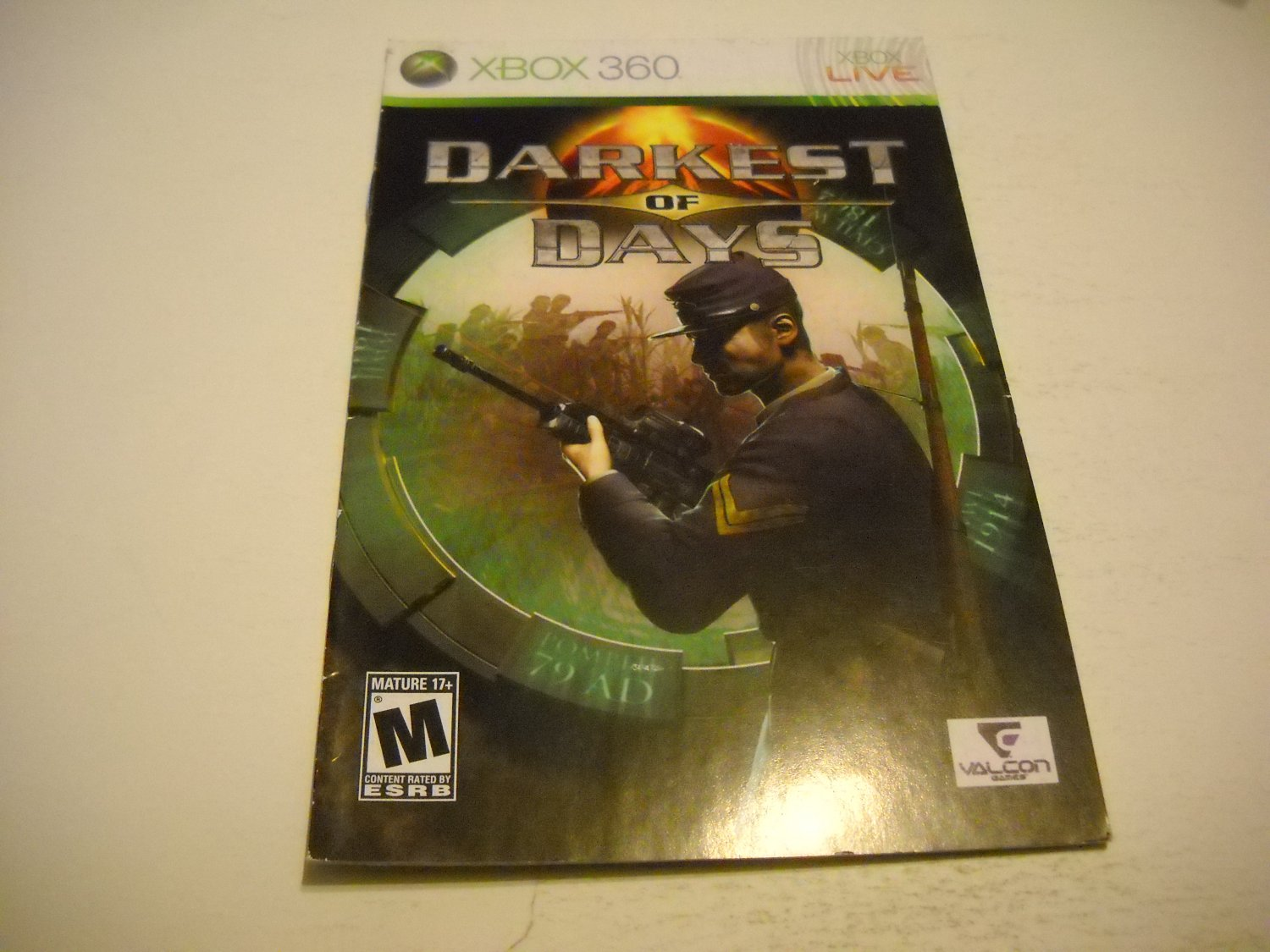 Manual ONLY ~  for Darkest of Days   - Xbox 360 Instruction Booklet