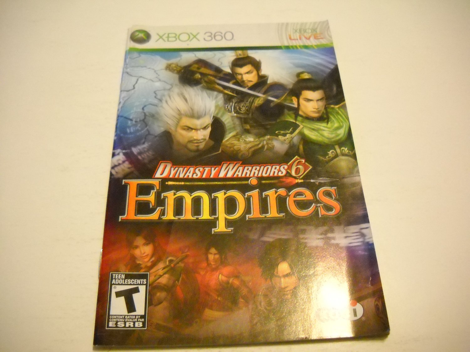 Manual ONLY ~  for Dynasty Warriors 6 Empires   - Xbox 360 Instruction Booklet