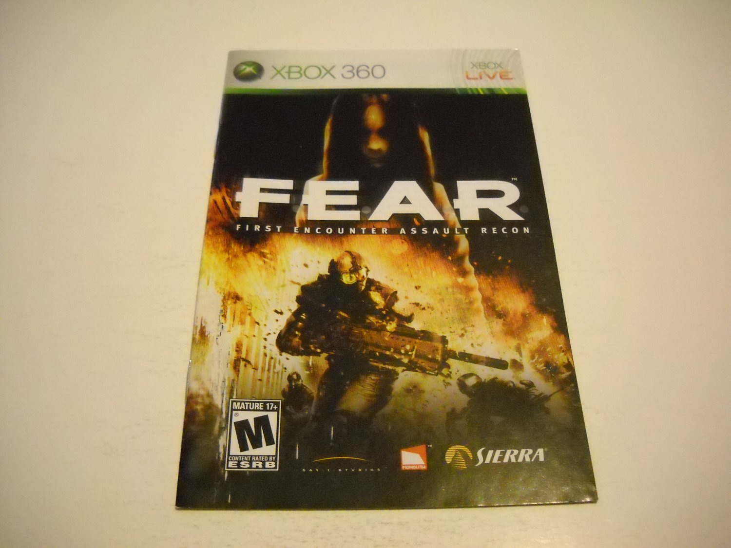 Manual ONLY ~  for FEAR   - Xbox 360 Instruction Booklet
