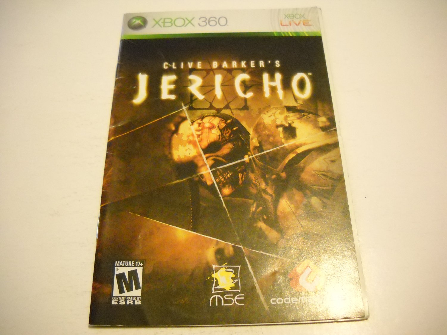 Manual ONLY ~  for Jericho   - Xbox 360 Instruction Booklet