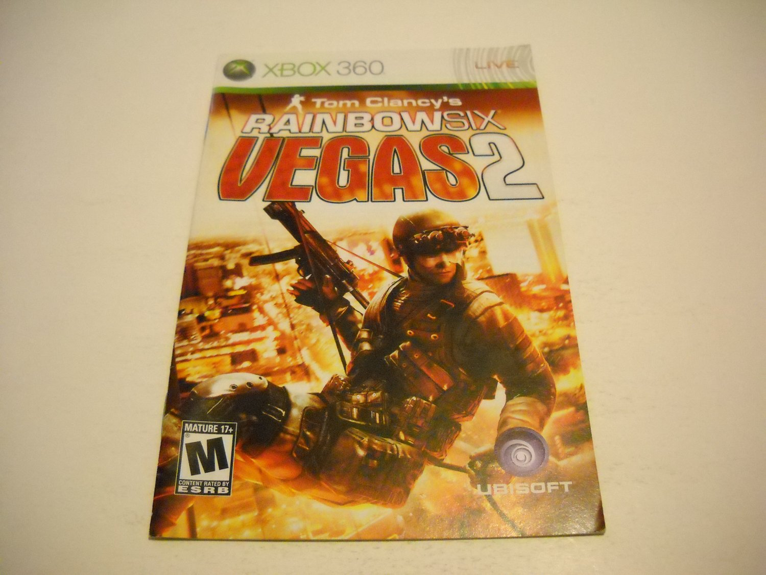 Manual ONLY ~  for Tom Clancy's Rainbow Six Vegas 2   - Xbox 360 Instruction Booklet
