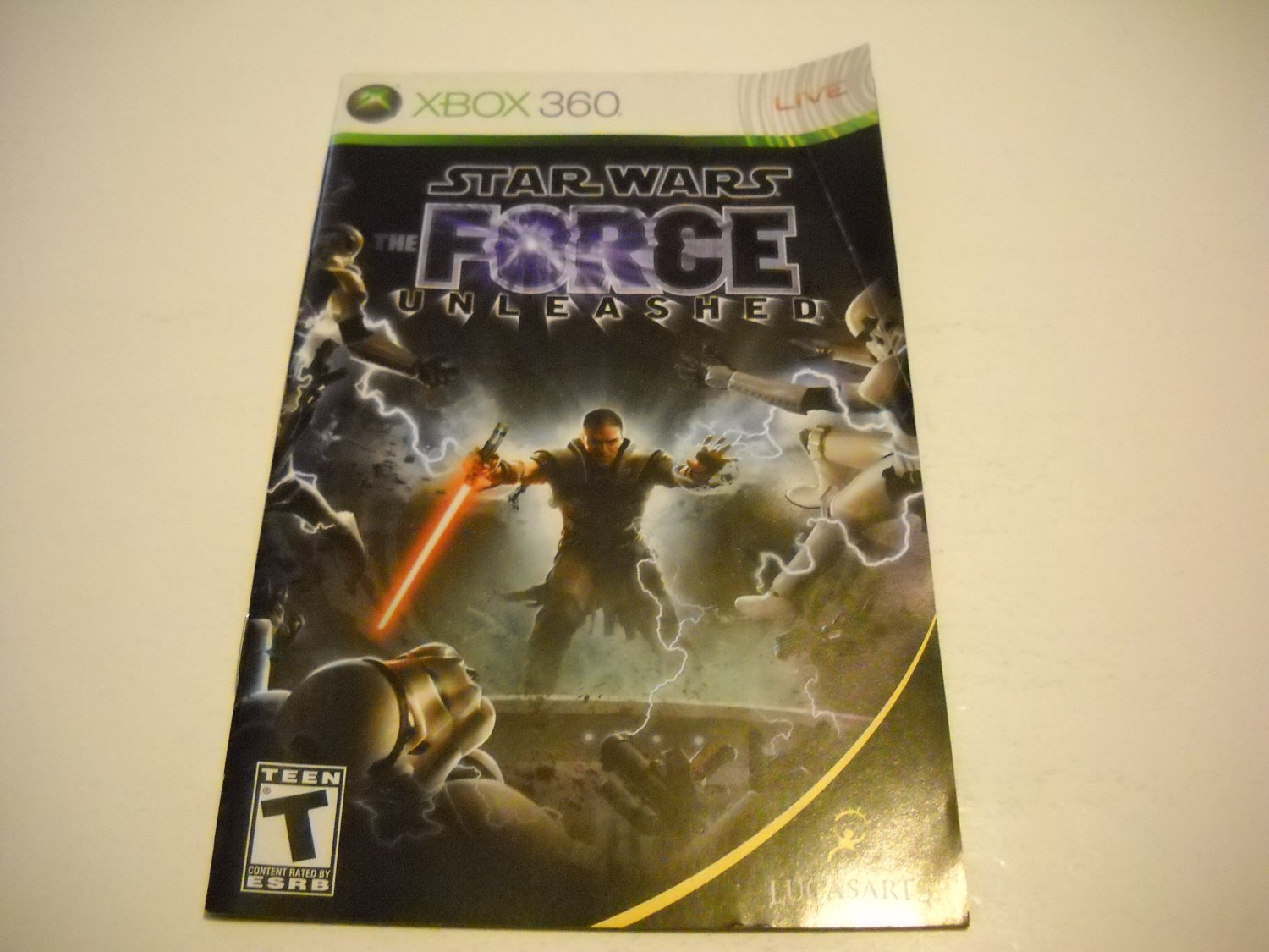 Manual ONLY ~  for Star Wars The Force Unleashed   - Xbox 360 Instruction Booklet