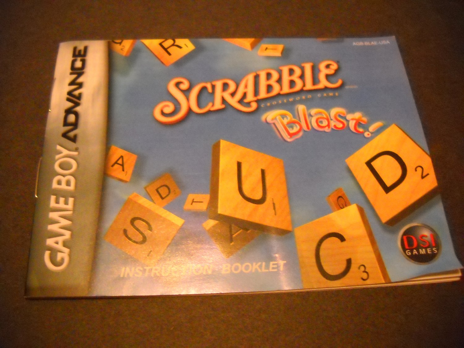Manual ONLY ~  for Scrabble Blast  Gameboy Advance