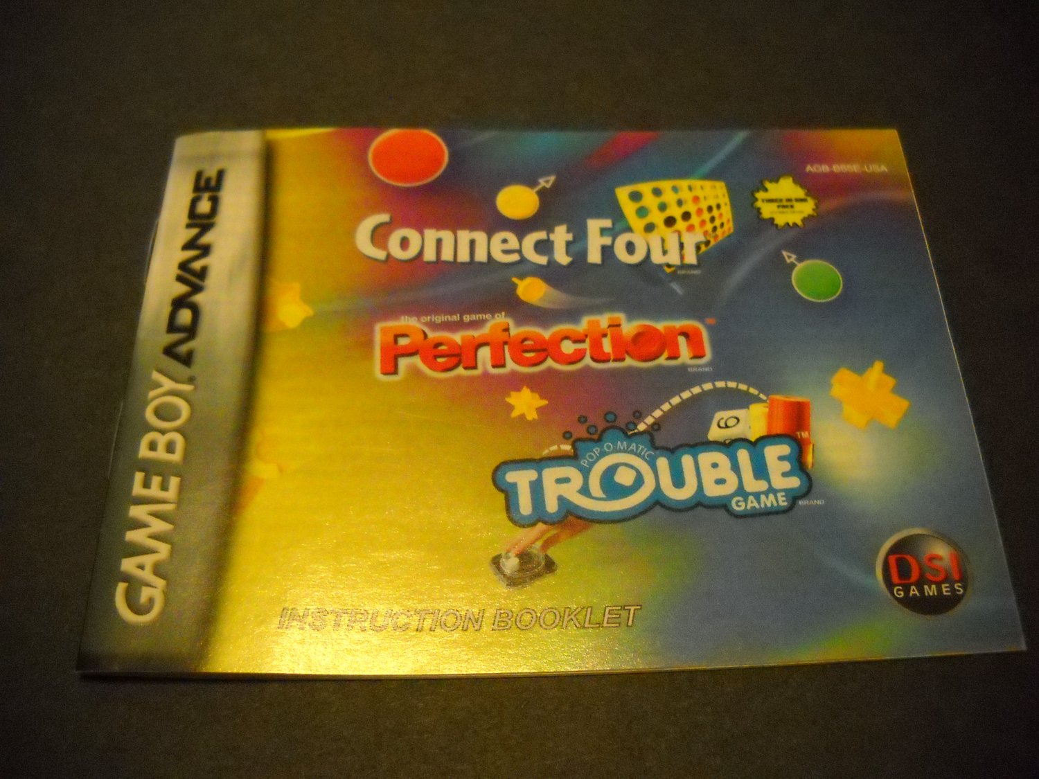 Manual ONLY ~  for Connect Four / Perfection / Trouble  Gameboy Advance