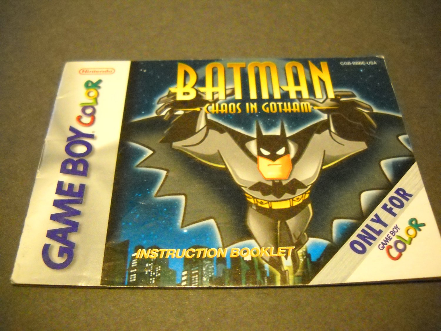Manual ONLY ~  for Batman Chaos in Gotham Gameboy Color, GBC