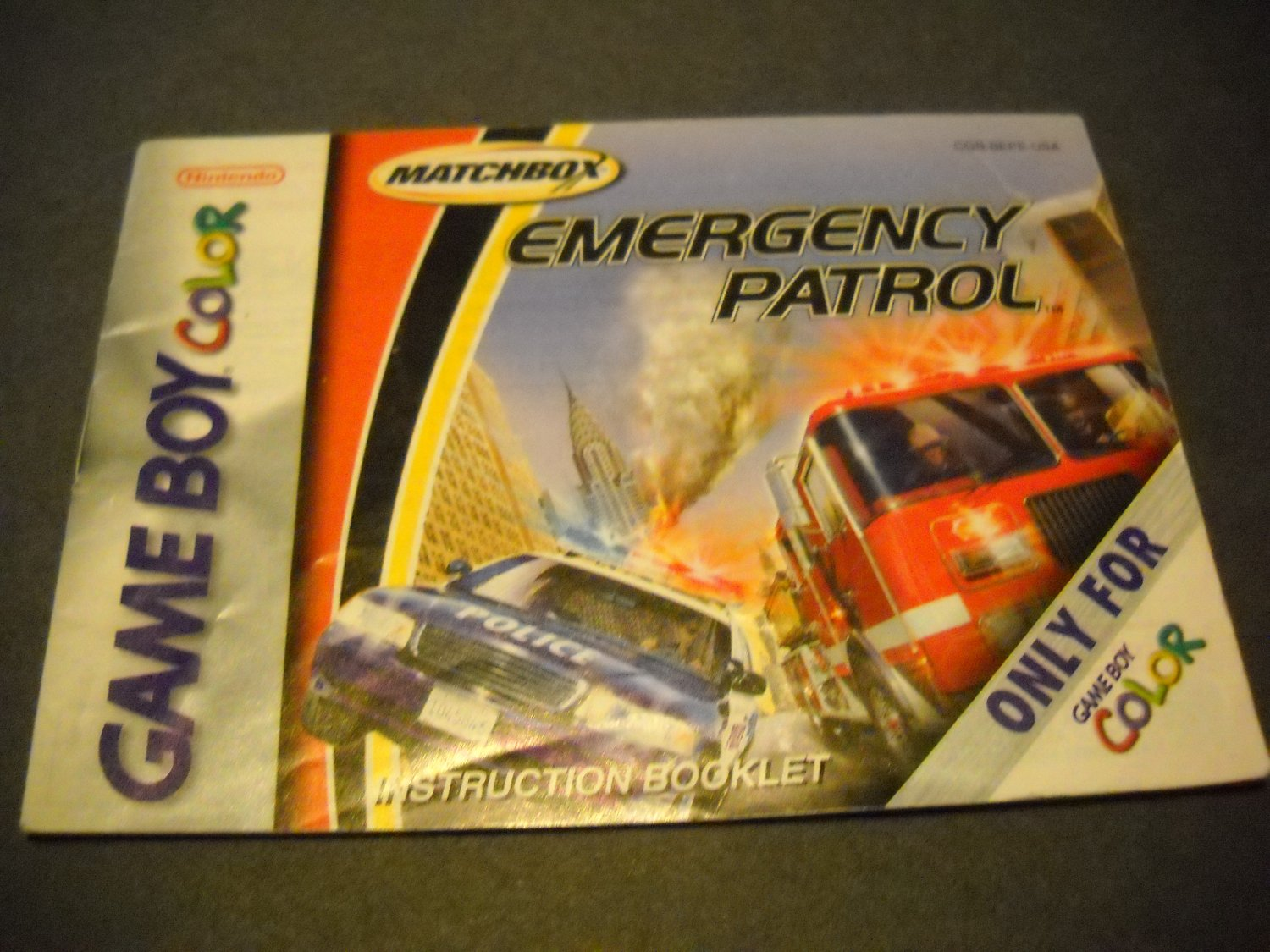 Manual ONLY ~  for Matchbox Emergency Patrol Gameboy Color, GBC