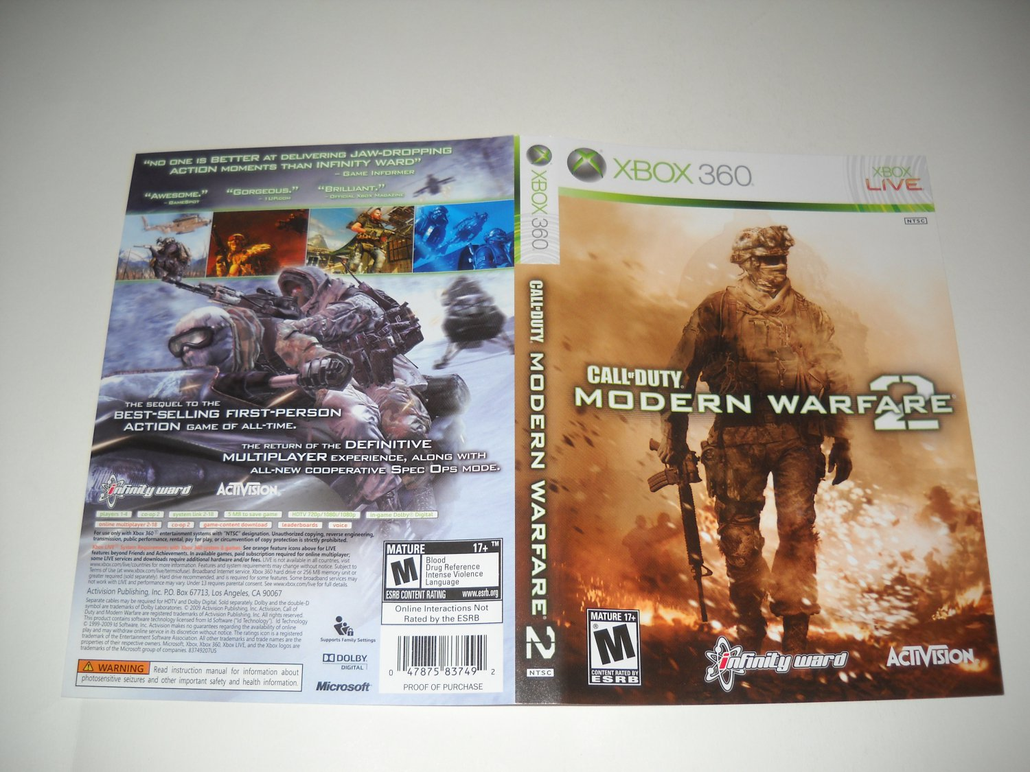 Artwork ONLY ~  Call of Duty Modern Warfare 2 - Xbox 360 Cover Art Insert