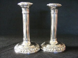 English Silverplate Candlesticks 19th C.