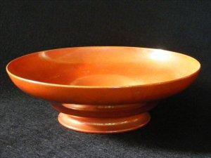 Ruskin Pottery Eggshell Bowl, Orange Iridescent Glaze