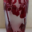 Val Saint Lambert Cranberry Cameo Glass Vase, Artist signed