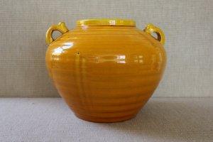 Japanese Sanpei Kiln Awaji Ware Handled Pottery Vase in Amber Yellow Glaze