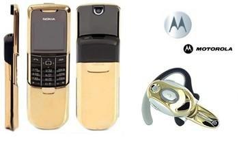 "Nokia 8800 ""jams bond Gold"" GSM Slider Cellular Mobile Phone + H700 Gold Bluetooth (Unlocked)"