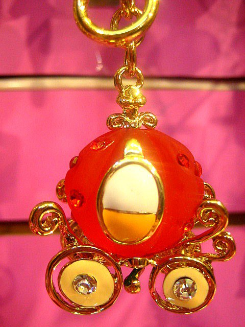 Pumpkin Carriage Key Chain Ring Charm Swarovski Crystal