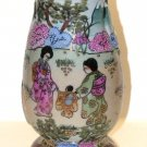 Porcelain Moriage Hatpin Holder or Shaker with Geisha Girls Marked Nippon