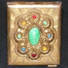 Vintage Brass Powder Compact Jeweled Cabochons