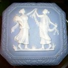 Vintage Trinket Box Blue Jasperware White Cameo Grecian Ladies