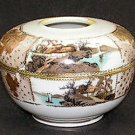 Vintage Porcelain Hair Receiver Jar Gold Moriage Scenic Dresser Jar