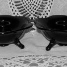 Depression Glass Candle Holders Black Petal Toed Low Dish Candlesticks