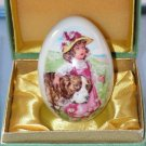 Vintage Royal Bayreuth Porcelain Easter Egg 1977 Girl with Dog in Original Box