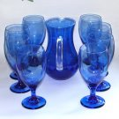 Vintage Blue Glass Beverage Set Pitcher Eight Goblets