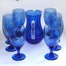 Vintage Blue Glass Beverage Set Pitcher Eight Goblets
