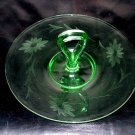 Elegant Depression Glass Center Handle Tray Sandwich Plate Wheel Cut Floral Green