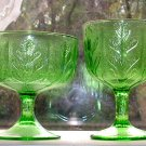 Vintage Pressed Glass Pedestal Bowls Oak Leaf Green FTD 1975