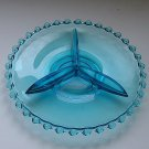 Vintage Glass Relish Dish Beaded Edge Divided Turquoise