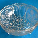 Vintage Crystal Bowl Pressed Glass Roses Footed