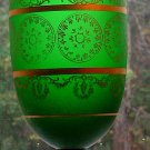 Vintage Vase Chalice Satin Glass Green Gold Trim Crystal Foot Italian Venetian