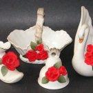 Vintage Ceramic White Ornamental Set Red Roses Gold Trim