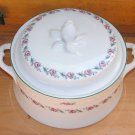 Vintage Casserole Tureen Fine China Cottage Chic Shabby White Pink Roses La Rochelle