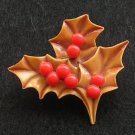 Vintage Celluloid Christmas Pin Holly Berry Brooch