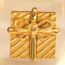 Vintage Christmas Brooch Gift Bow Gold Tone Pin Signed Ali